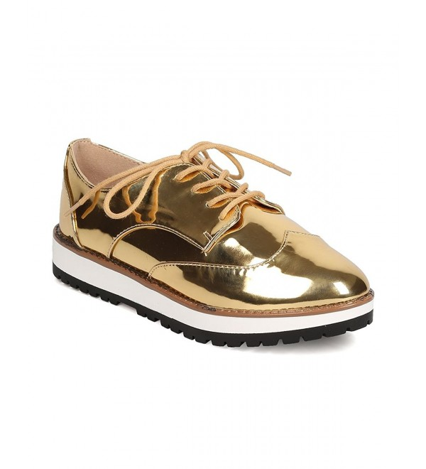 Qupid Metallic Leatherette Spectator Loafer