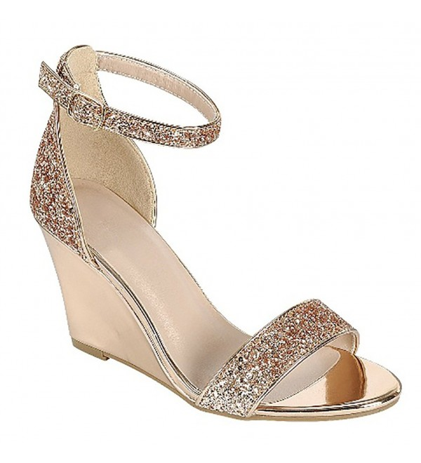 MVE Shoes Wedge Glittery Decoration Shoes Ankle