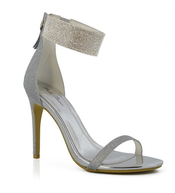 42356cfd1a7 Womens Ankle Strap Heels Diamante Stiletto Heel Peep Toe Party ...