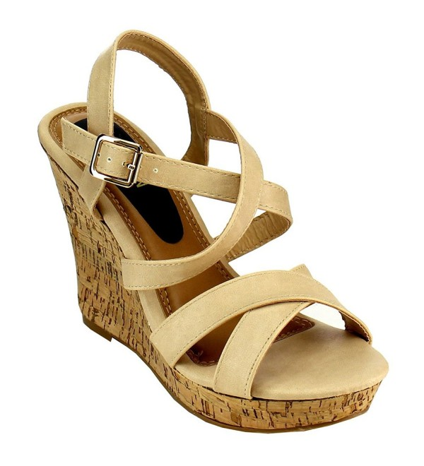 Womens Platform Strappy Sandals Natural