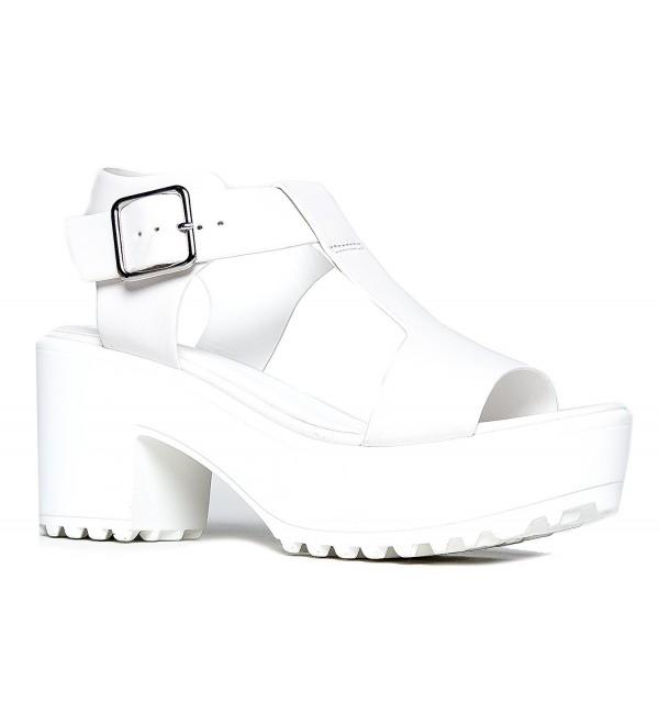Peep Toe Flatform White PU