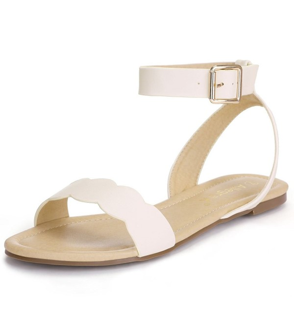 Allegra Womens Scalloped Ankle Sandals