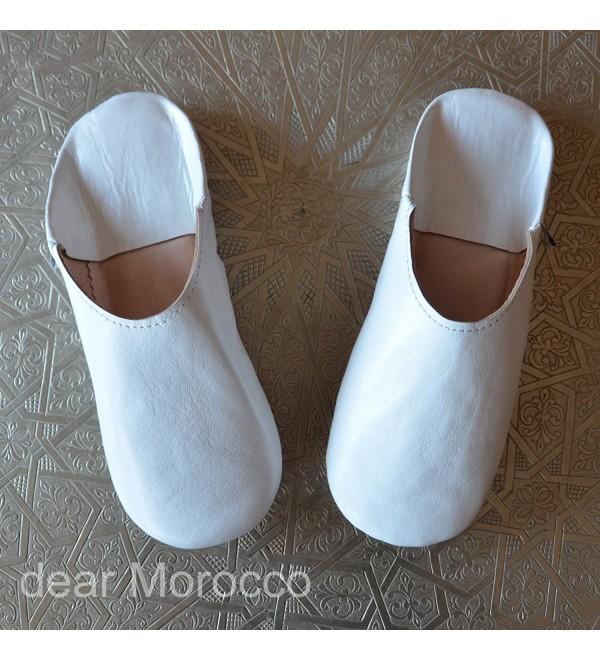 SIMPLE BABOUCHE White Morocco sheepskin