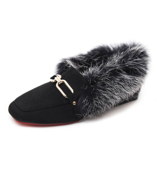 Meeshine Womens Loafer Buckle Slippers