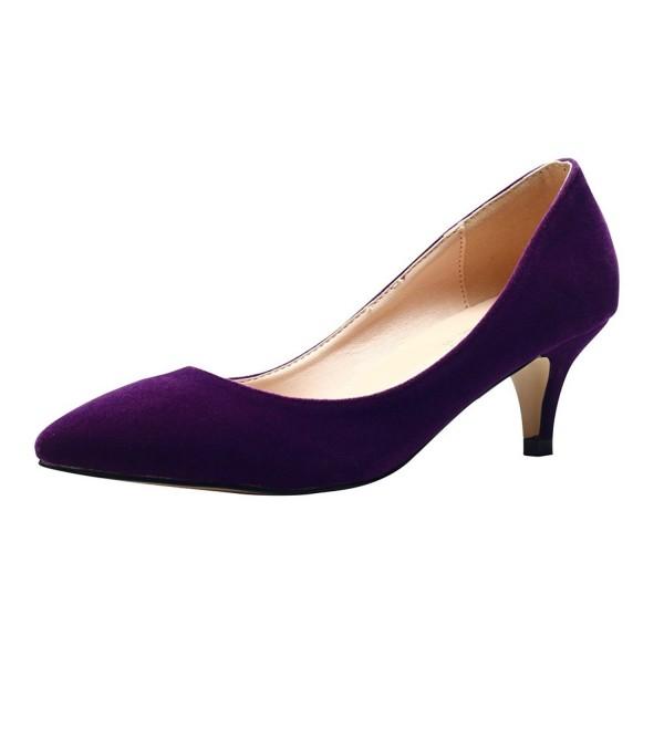 f0dde5c3b0f5f Women's Classic Slip On Pointed Toe Kitten Heel Dress Pumps Shoes - Purple  - C2186S2SQI4