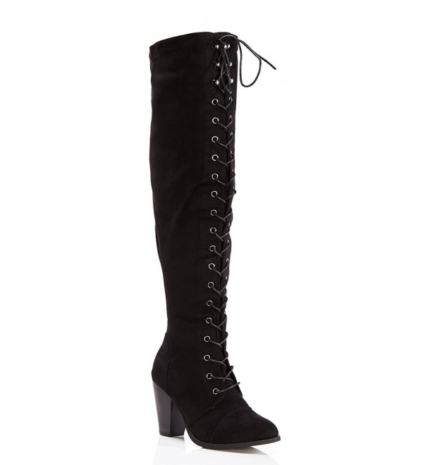 OLIVIA Womens Over Lace Up Mid Heel