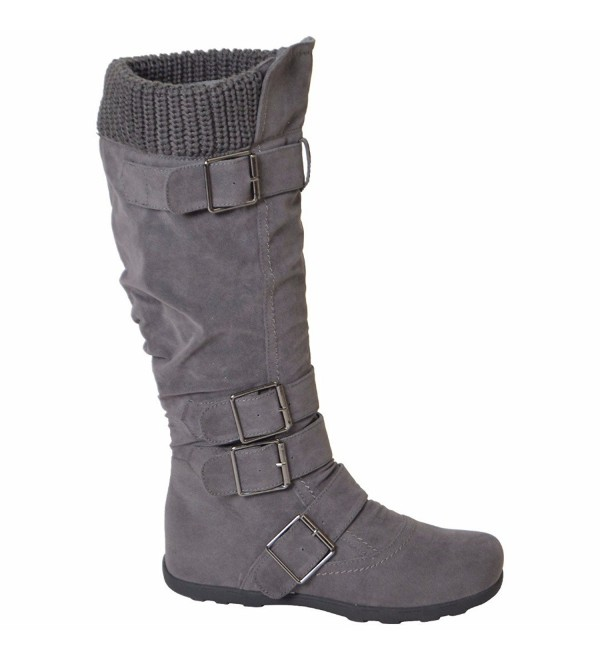 Womens Suede Winter Buckle Boots