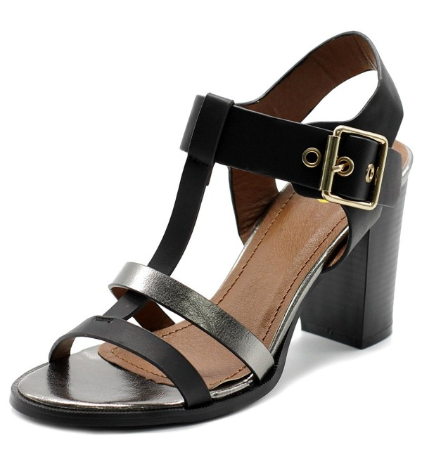 Ollio Womens T Strap Stack Sandal