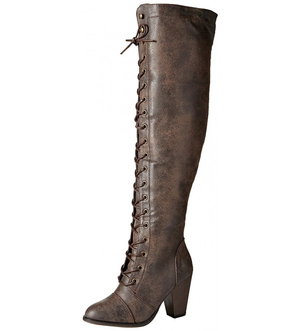 Forever Womens Lace Up Mid Heel BrownB