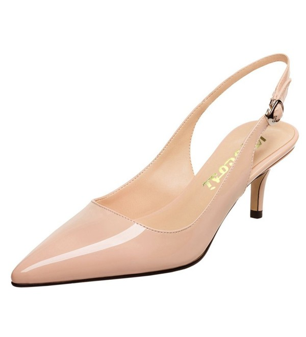 a5349d0e48a Slingbacks Pumps For Women-Low Kitten Heels Comfortable Pointy Toe Pumps  Shoes - Nude - CB188GSGLCY