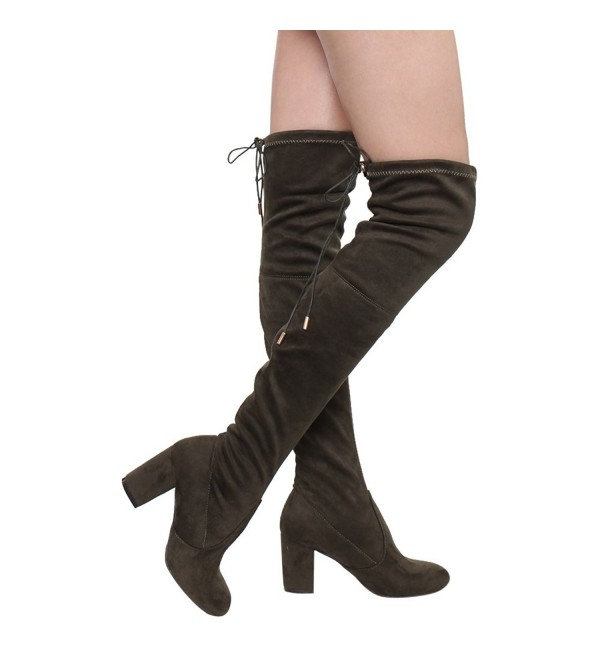 Womens Boots Stretchy Drawstring Chunky