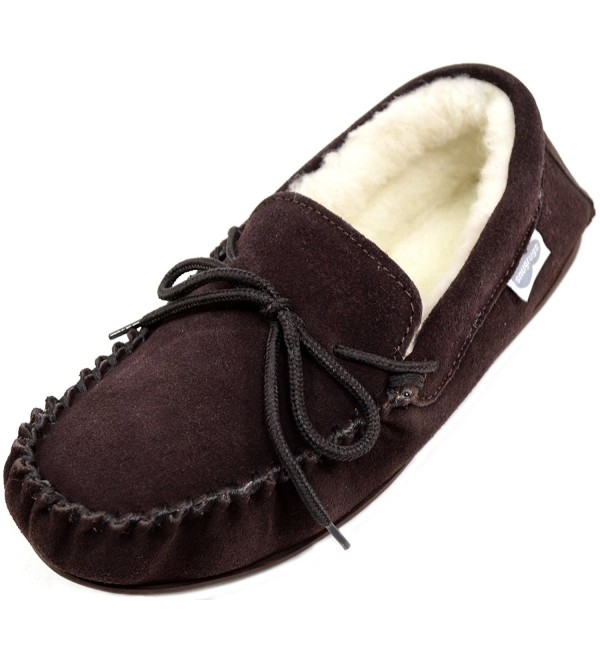 Snugrugs Sheepskin Moccasin Slippers Rubber