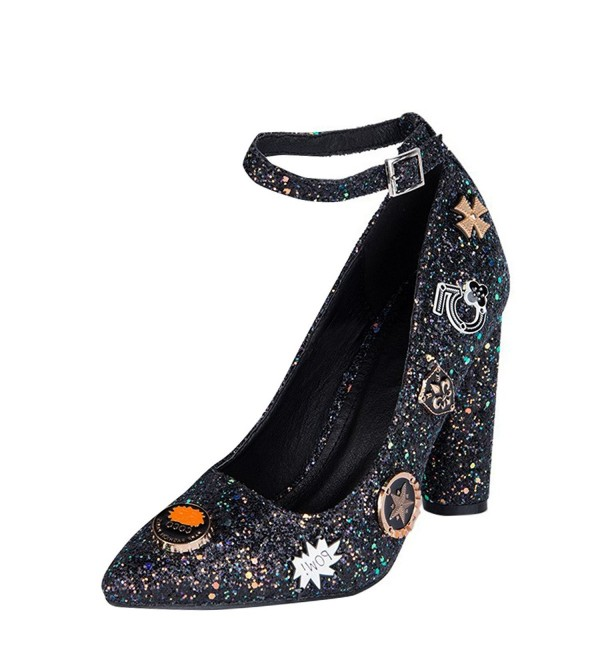 f82176e26415 Womens Pointy Toe Glitter Embellished Chunky High Heel Ankle Strap ...