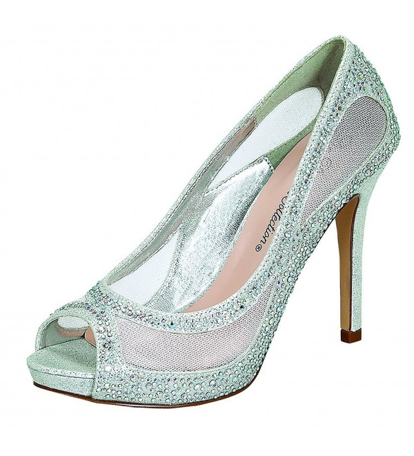 Blossom Collection Womens Peep Toe Silver