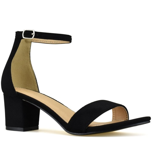 e46adaec57f Women's Strappy Chunky Block Low Heel - Formal- Wedding- Party Simple  Classic Pump - Black Su - CD180YWN0UM