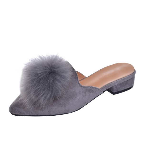 Womens Pointed Backless Loafers Slippers
