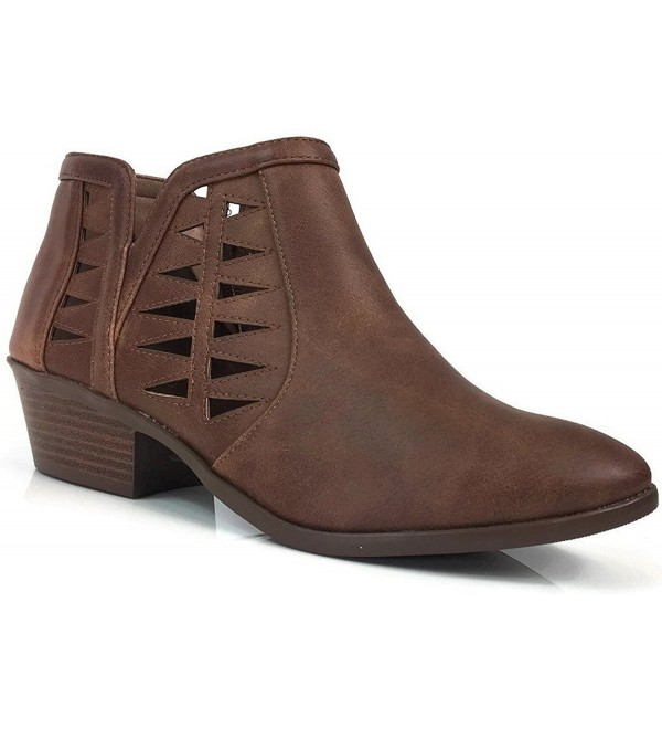 Soda Womens Perforated Stacked Booties