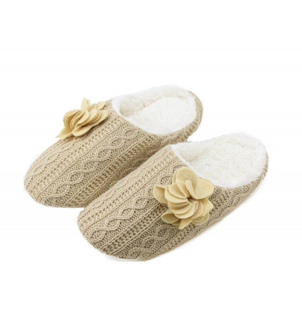 Womens Gridding Velvet Fleece Slippers