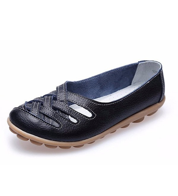 Womens Leather Loafers Casual Sandals
