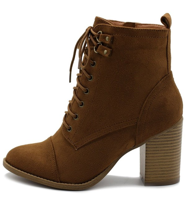 118f06a8fab Women's Shoe Faux Suede Lace Up Stacked High Heel Ankle Boots SSB09 ...