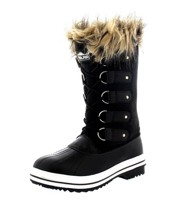 Womens Lace Rubber Winter Boots