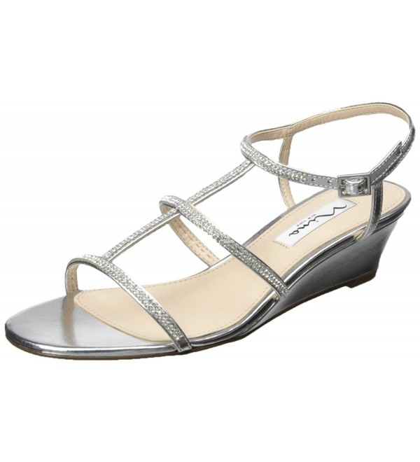 Nina Womens Floria Wedge Silver
