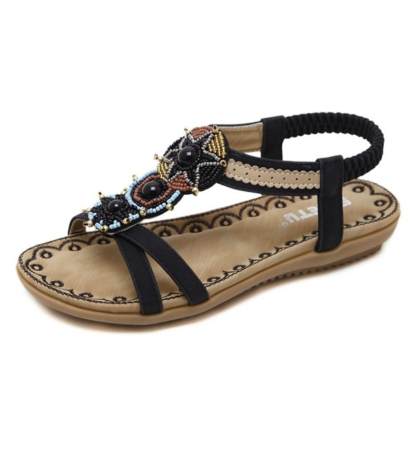 d667a2ac6d39 Women T-Strap Rhinestone Beaded Gladiator Flat Sandals Summer Beach ...