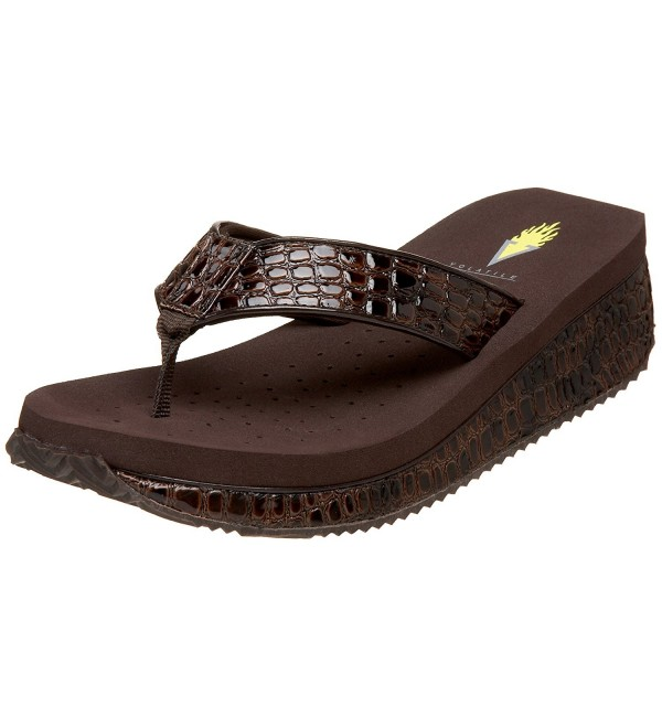 Volatile Womens Croco Wedge Sandal