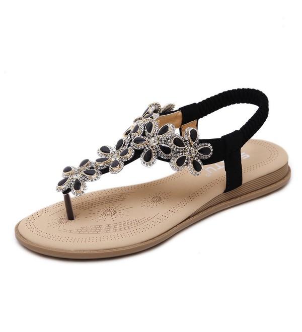 Meeshine Womens Rhinestone Sandals T Strap