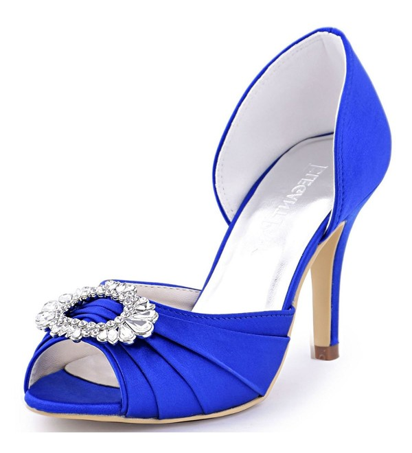 0fccaa960c92 Women High Heel Pumps Peep Toe Brooch Ruched Satin Evening Prom ...