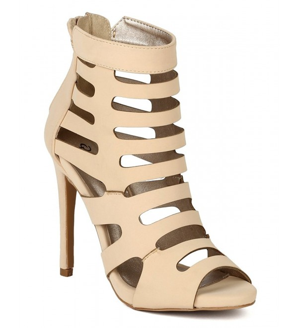 Qupid Nubucke Strappy Stiletto Bootie