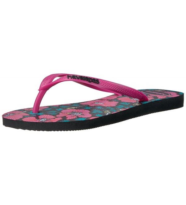 5882a205d000 Women s Slim Floral Sandal Flip Flop - Black Orchid Rose - CT12MXVQUWF