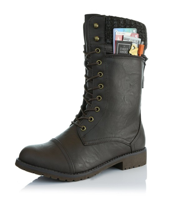 DailyShoes Womens Combat Bootie Military