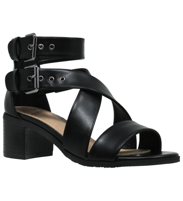 Womens Sandals Strappy Buckle Accent