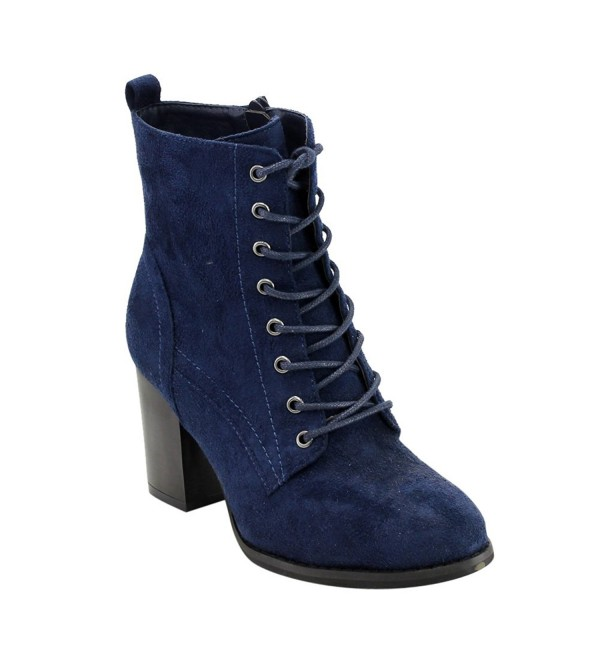 GF08 Women\u0027s Lace Up Side Zip Block High Heel Combat Ankle Booties , Navy ,  CJ12MXM6NZR
