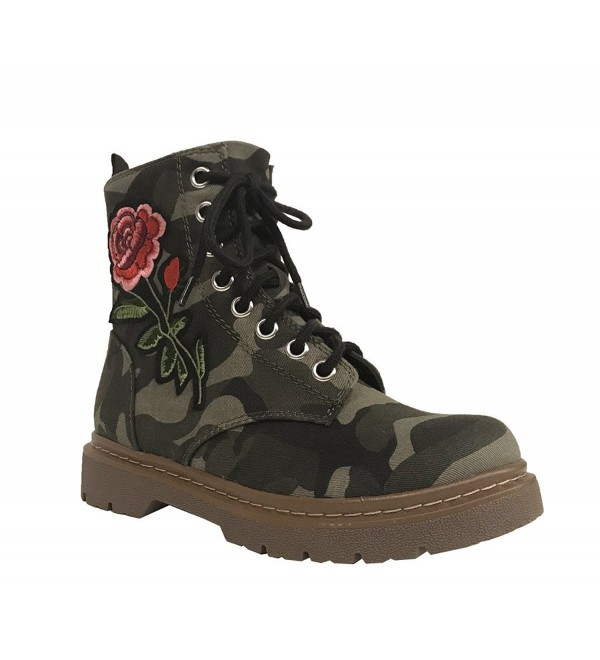 Soda Womens Embroidered Combat Canvas