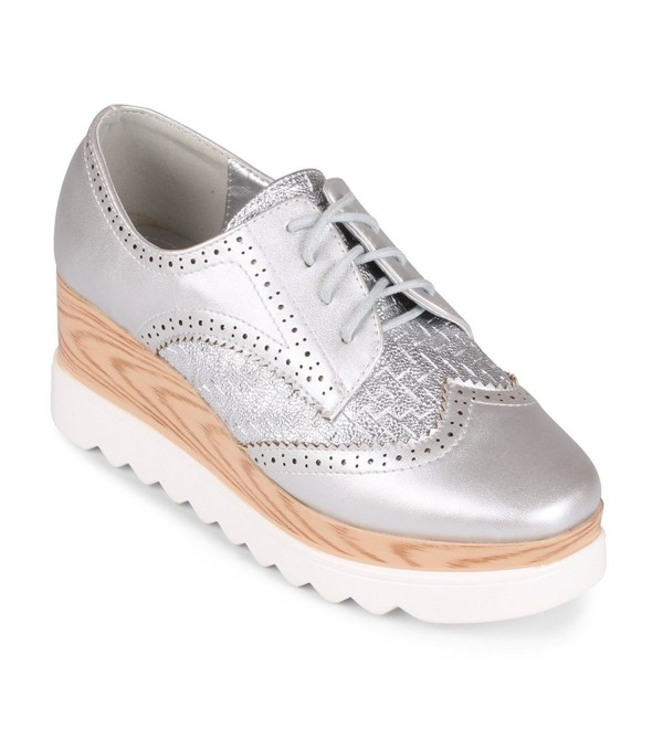 d09186373fa Gallaway Lace Up Platform Wedge Oxford - Silver - C512NZG2EVR
