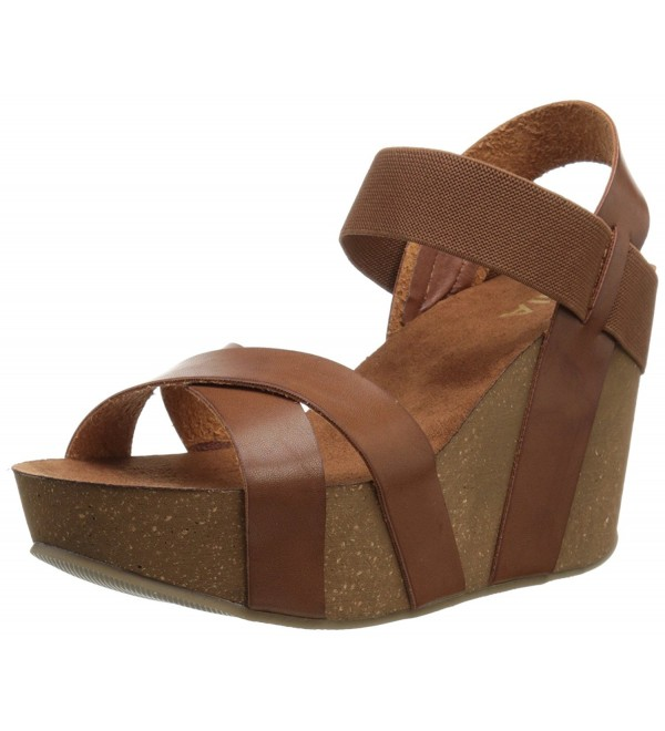 MIA Womens Wedge Sandal Cognac