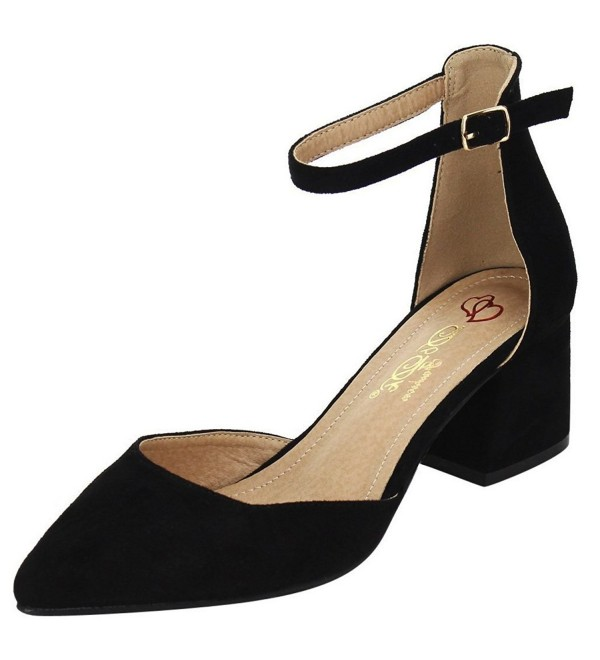Womens Strappy Ankle Block Pointed