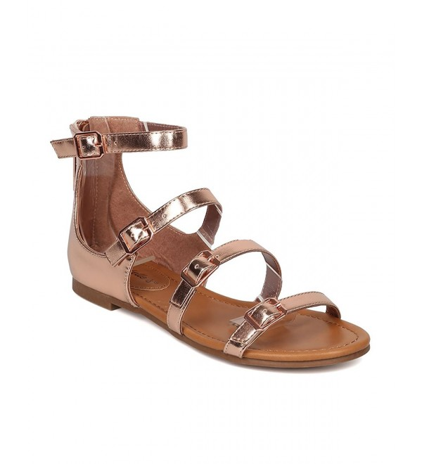 6629fd4218e8 Women Buckled Flat Sandal - Strappy Open Toe Sandal - Gladiator ...