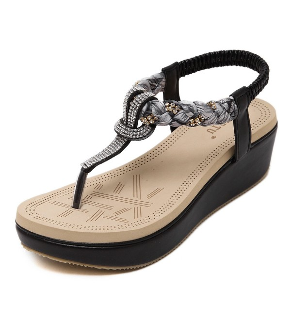 50f98d60c8c Womens Wedge Sandals Thong Platform Beaded Slingback Bohemia Summer ...