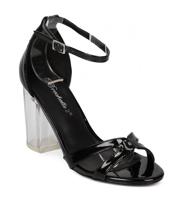 Women Patent Lucite Block Heel