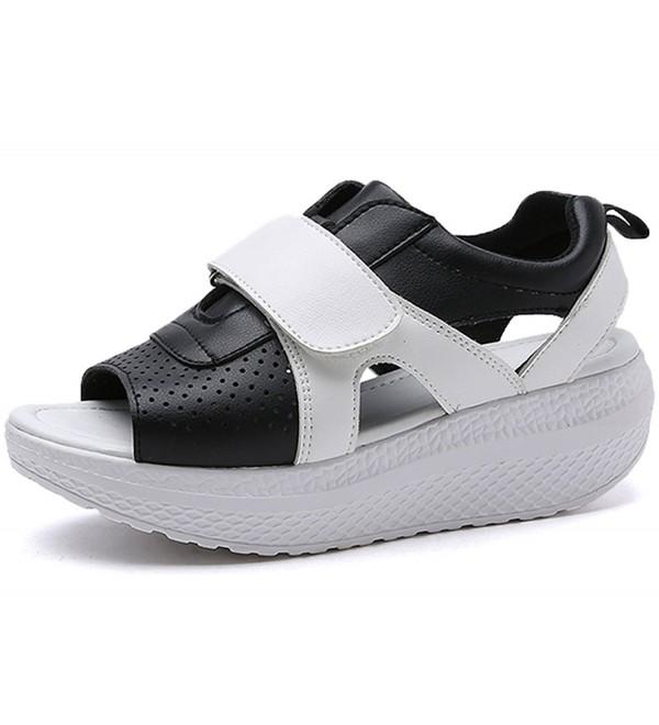 JARLIF Leather Platform Sandals Walking