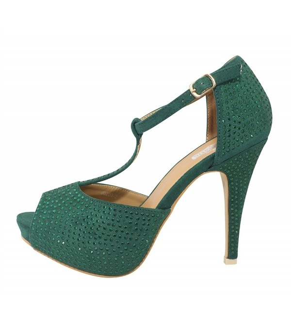Chicastic Rhinestone Platform Wedding Emerald