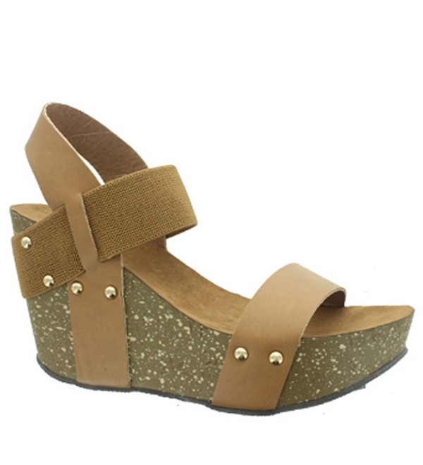3c672831a56e Ellie-1 Women s Studded Platform Wedge Sandals - Tan - C717WTRA68K