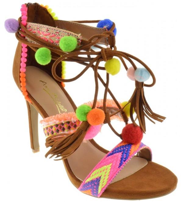 Truelove Womens Embroidered Sandals Chestnut