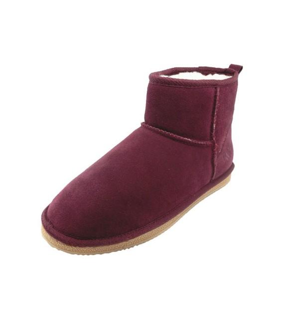 Womens Burgundy Genuine Leather Short