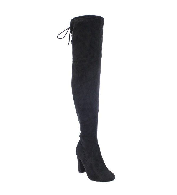 e0d18a411e1 ... Back Tie Over the Knee Chunky High Heel Dress Boot - Black Faux Suede -  CY12MAWMXLQ. On sale! New. Delicious Womens Suede Chunky Dress