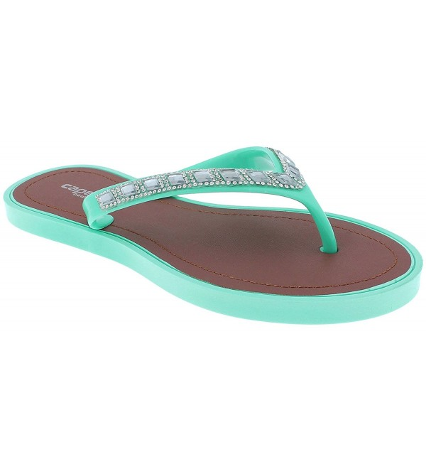 5bea4165b0be Ladies Fashion Flip Flops With Rhinestone and Gem Trim - Mint ...
