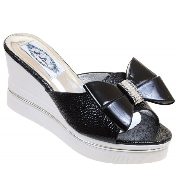 Bling Open Toe Slide Patent Womens 10